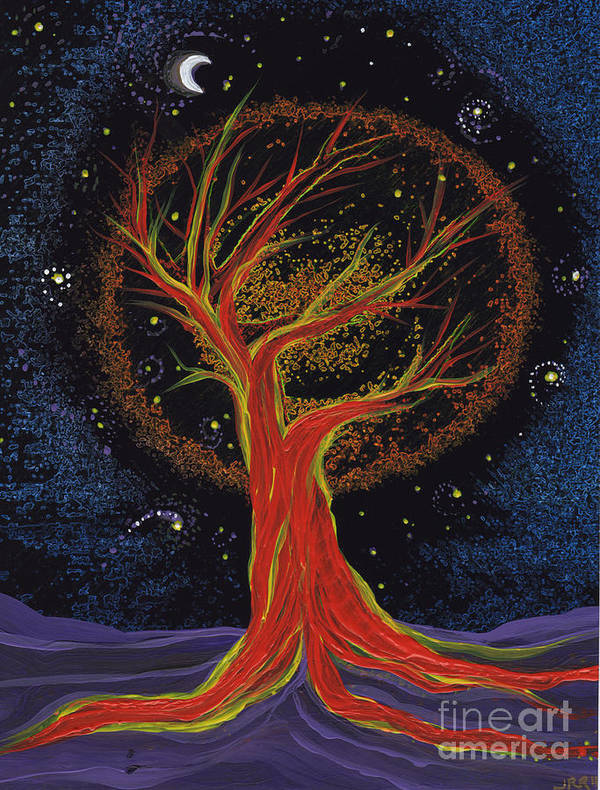 First Star Poster featuring the painting Life Blood Tree By Jrr by First Star Art