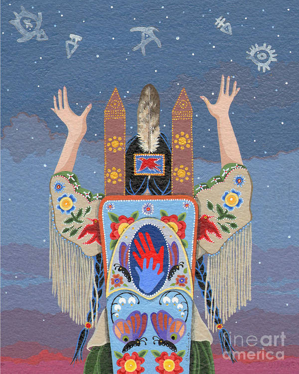 America Poster featuring the painting Lift Your Hands by Chholing Taha