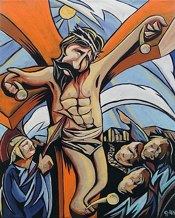 John 3:14 Lifted Up Crucifixion Jesus Sacrifice Accused Lamb Of God Savior Cross Death Christ Messiah  Poster featuring the painting Lifted Up by Rus Huffstutler
