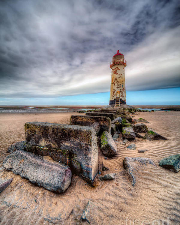 Beach Poster featuring the photograph Lighthouse At Talacre by Adrian Evans