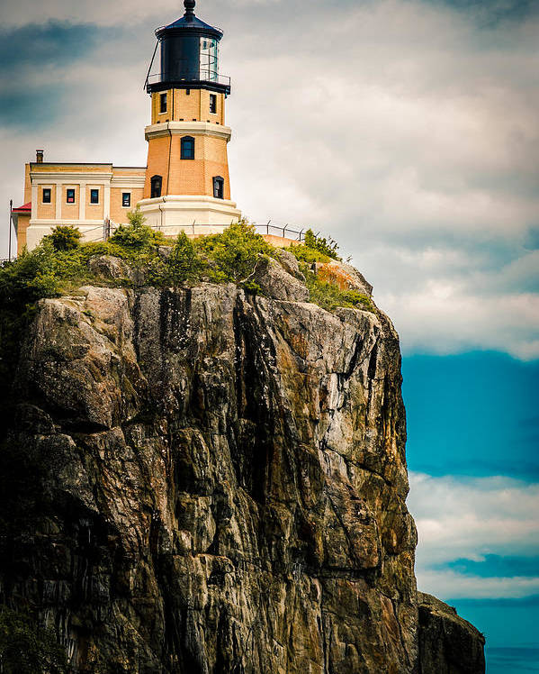 Two Harbors Poster featuring the photograph Lighthouse On Split Rock by Ever-Curious Photography