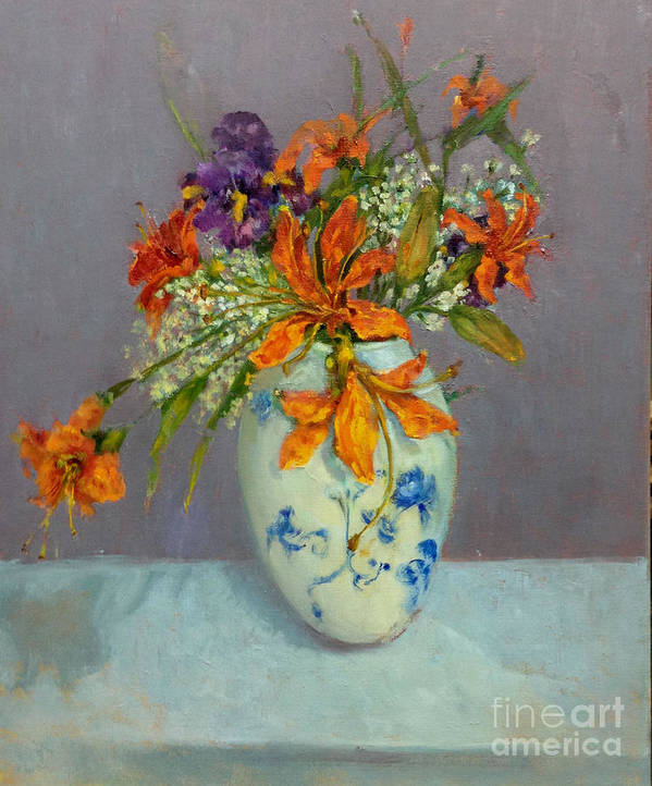 Orange Lilies Poster featuring the painting Lilies in Delft by Kathleen Hoekstra