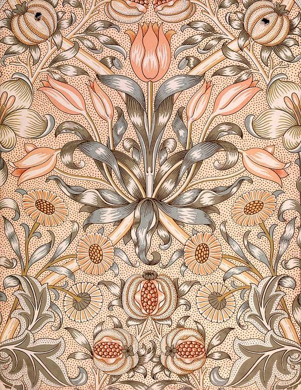 Wallpaper Poster featuring the tapestry - textile Lily And Pomegranate Wallpaper Design by William Morris