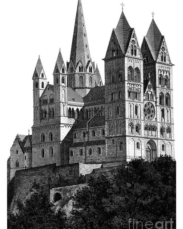 Black And White Poster featuring the mixed media Limburg Cathedral Beautiful Detailed Woodblock Print by Christos Georghiou