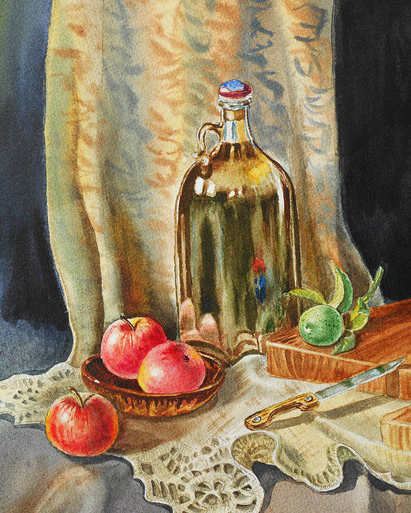 Apple Poster featuring the painting Lime And Apples Still Life by Irina Sztukowski