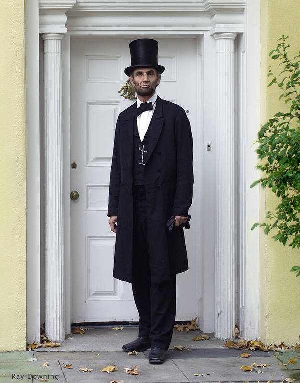 Abraham Lincoln Poster featuring the digital art Lincoln Leaving A Building 2 by Ray Downing
