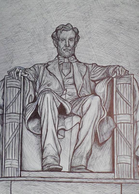 Abraham Lincoln Poster featuring the drawing Lincoln Memorial by Christy Saunders Church