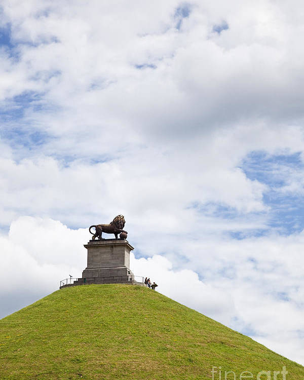 Battle Poster featuring the photograph Lions Mound Memorial To The Battle Of Waterlooat Waterloo Belgium Europe by Jon Boyes