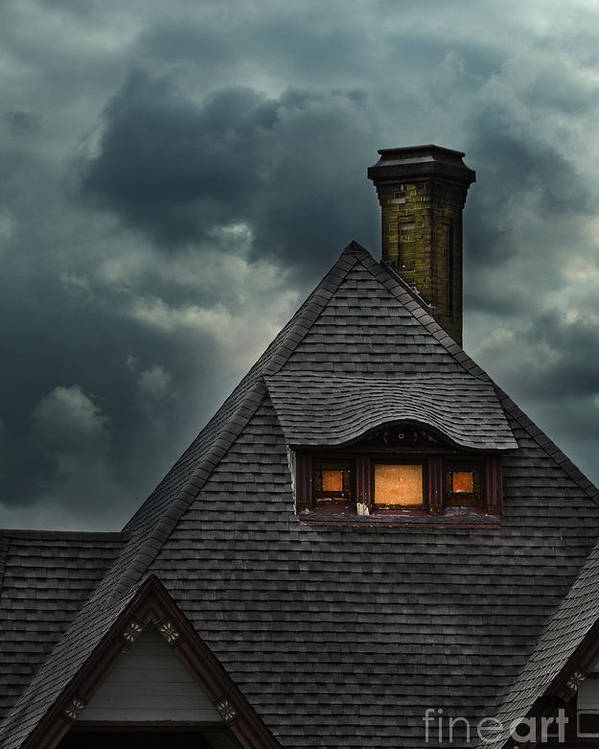 House Poster featuring the photograph Lit Attic Window by Jill Battaglia