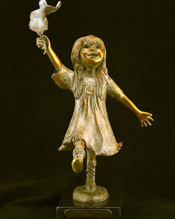 Bronze Poster featuring the sculpture Little Bear Dancer by Barb Maul