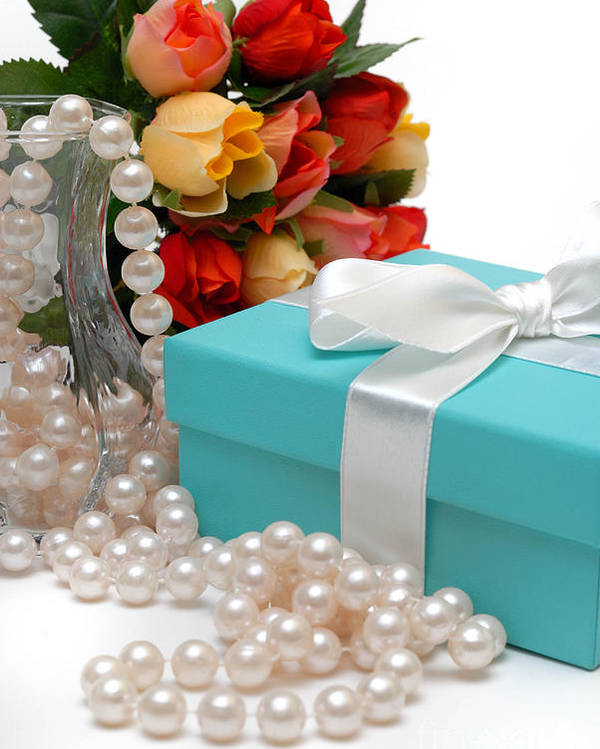 Anniversary Poster featuring the photograph Little Blue Gift Box With Pearls And Flowers by Amy Cicconi