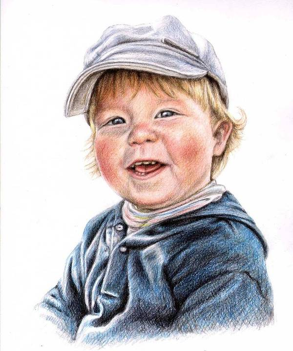 Boy Poster featuring the drawing Little Boy by Nicole Zeug