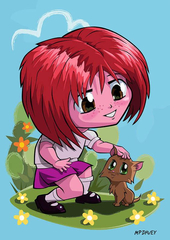 Cat Poster featuring the digital art Little Cartoon Manga Girl Stroking Pet Cat by Martin Davey