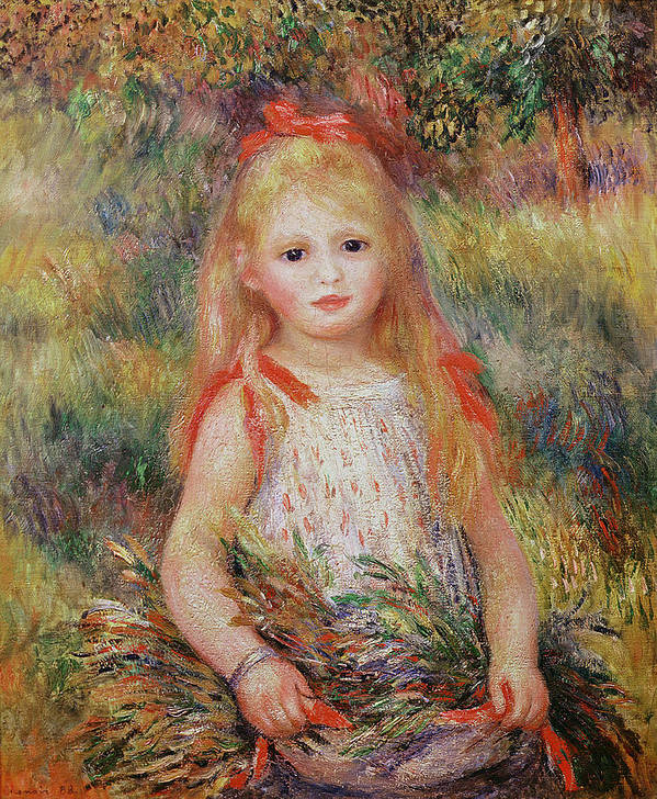 Child Poster featuring the painting Little Girl Carrying Flowers by Pierre Auguste Renoir