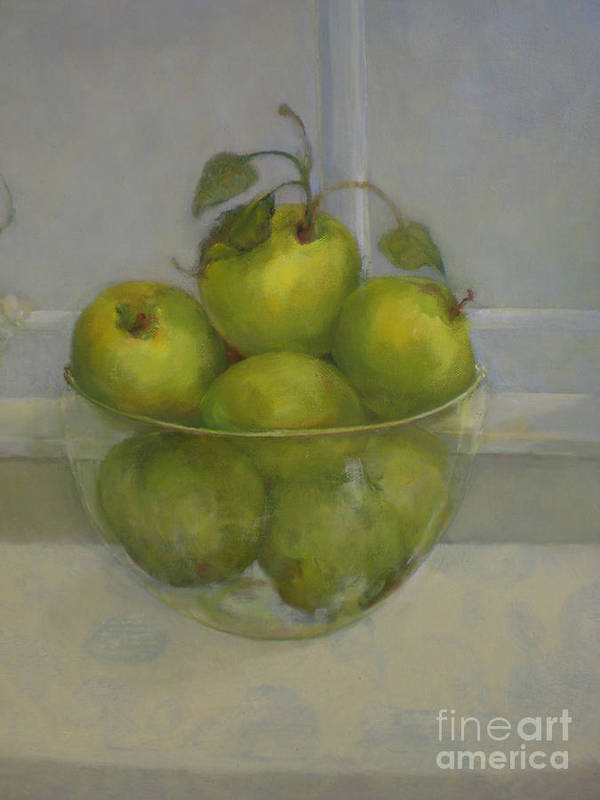Green Apples Poster featuring the painting Little Green Apples     copyrighted by Kathleen Hoekstra