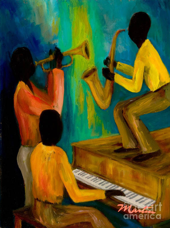 Jazz Poster featuring the painting Little Jazz Trio I by Larry Martin