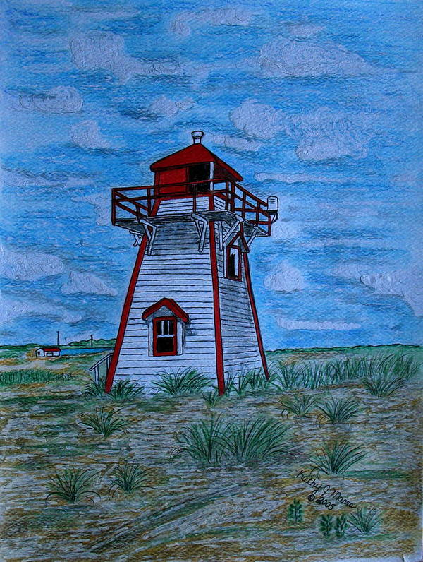 Red Poster featuring the painting Little Red And White Lighthouse by Kathy Marrs Chandler