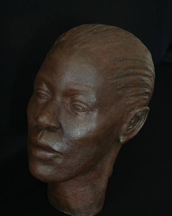 Portrait Sculpture Poster featuring the sculpture Loanna by Flow Fitzgerald