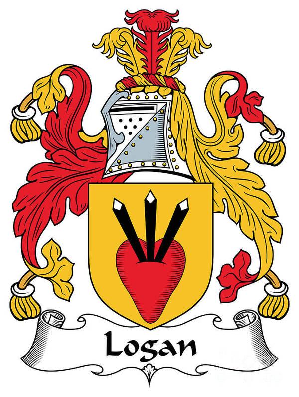 Logan Poster featuring the digital art Logan Coat Of Arms Irish by Heraldry
