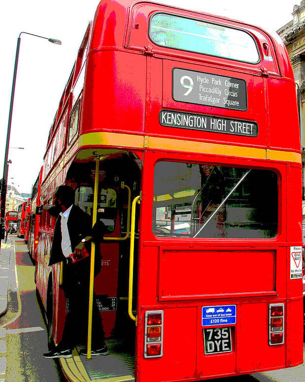 London.uk. Buses Poster featuring the photograph London Bus Heading To Kensington by Sue Turner-Cray