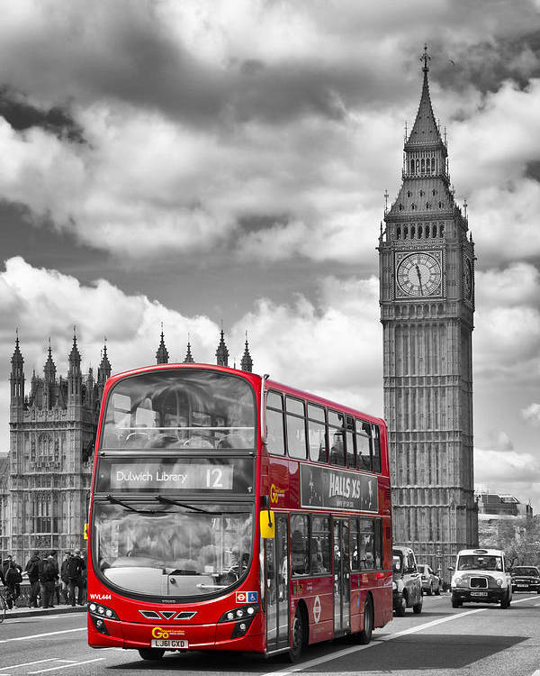 British Poster featuring the photograph London - Houses Of Parliament And Red Bus by Melanie Viola