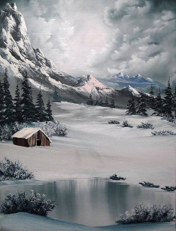 Landscape Poster featuring the painting Lonely Cabin by John Koehler