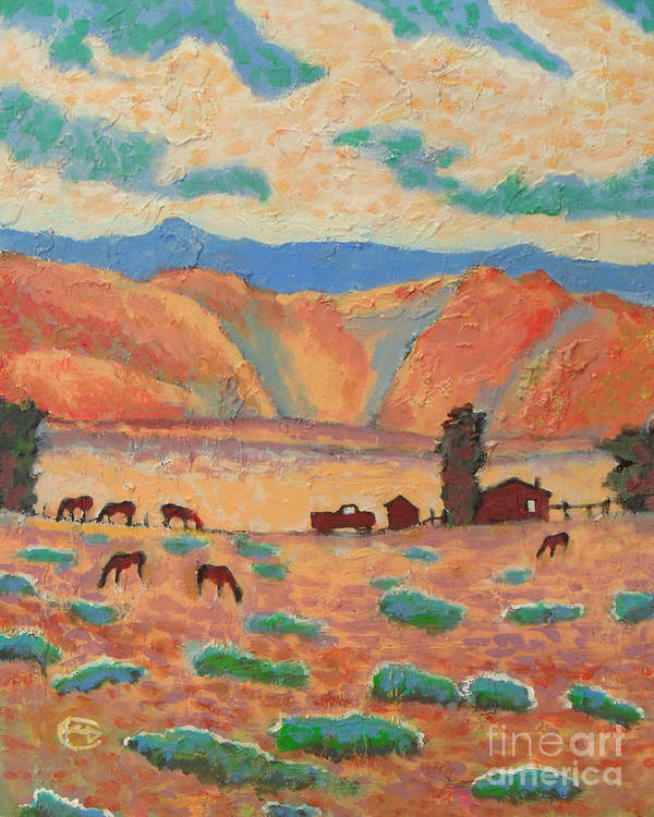 Nevada Poster featuring the painting Lonesome Valley Ranch by Kip Decker