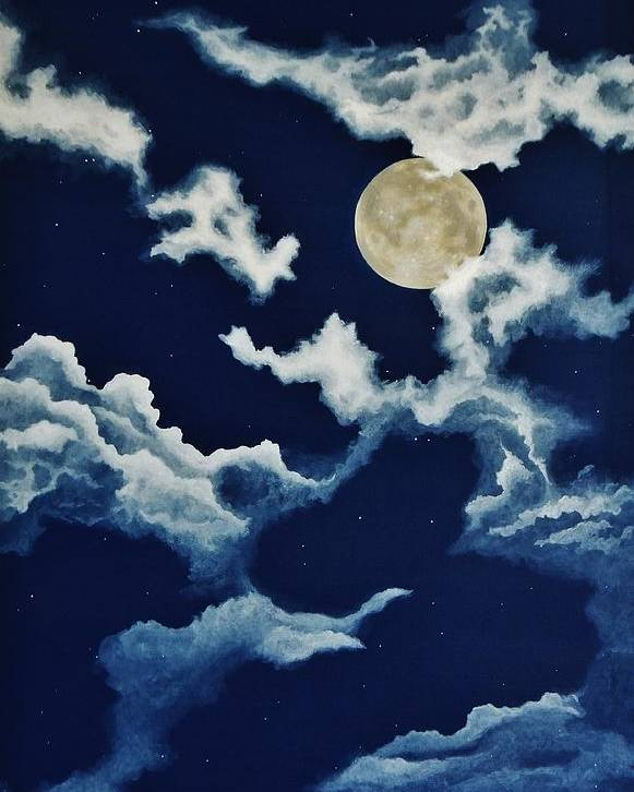 Print Poster featuring the painting Look At The Moon by Katherine Young-Beck