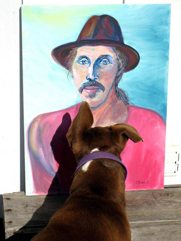 Dog Photograph Poster featuring the photograph Lookin At You Dad by Ron McMath