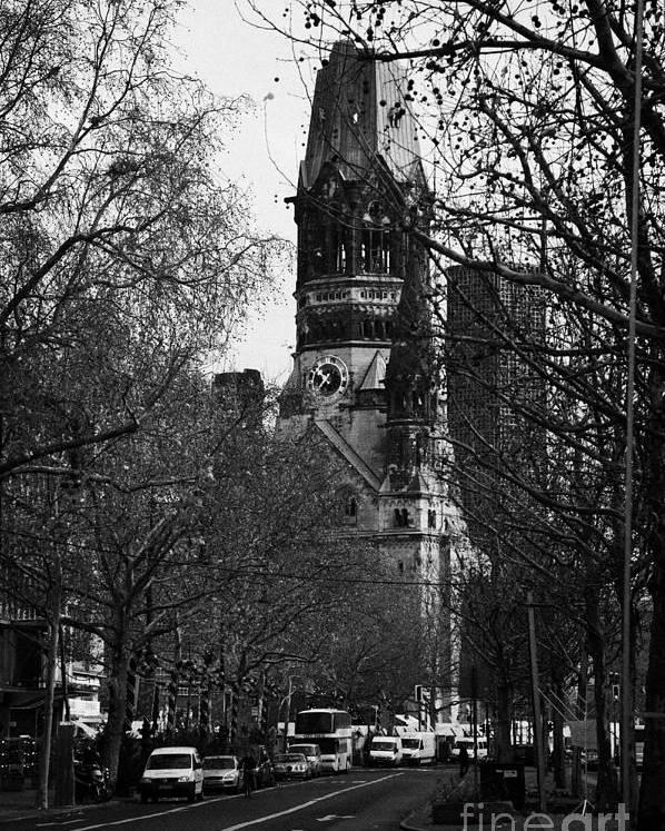 Berlin Poster featuring the photograph looking down Kurfurstendamm towards Kaiser Wilhelm Gedachtniskirche memorial church Berlin Germany by Joe Fox