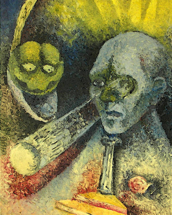 Mixed Media Poster featuring the painting Looking Into It by Lazaros