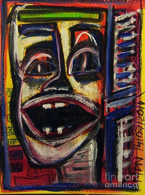 Art Brut Poster featuring the painting Looking Out The Window And Having A Laugh by Mimulux patricia No