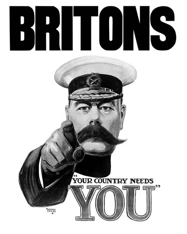 Wwi Poster featuring the painting Lord Kitchener - Britons Your Country Needs You by War Is Hell Store