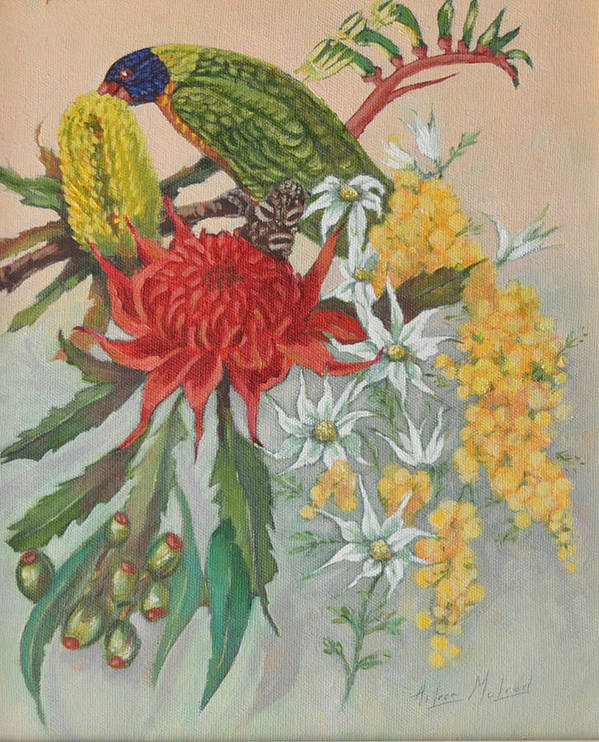 Bird Portraits Poster featuring the painting Lorikeet And Wildflowers by Aileen McLeod