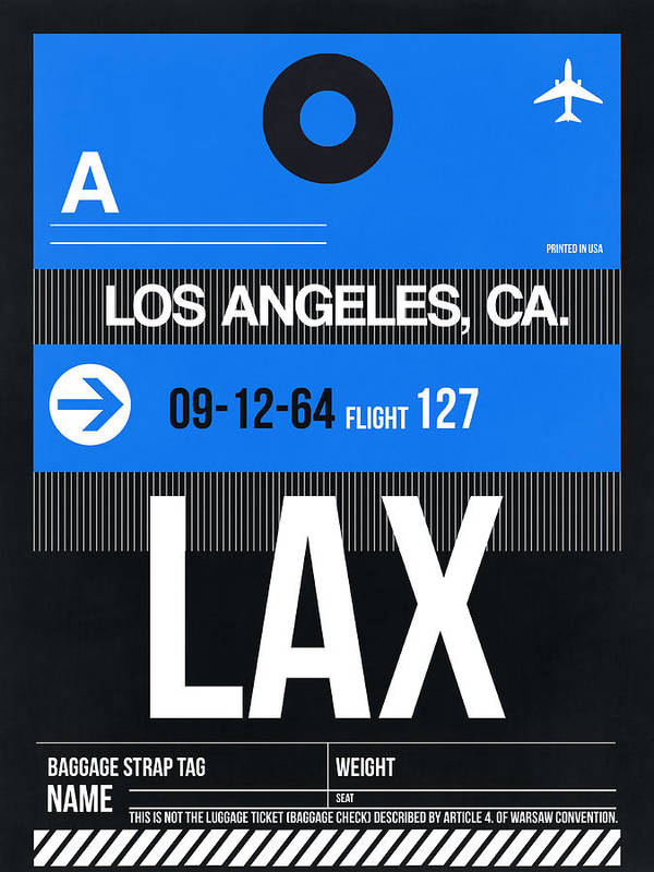 Poster featuring the digital art Los Angeles Luggage Poster 3 by Naxart Studio