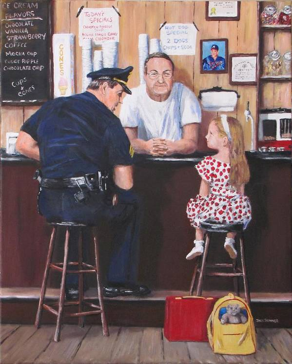 Police Poster featuring the painting Lost And Found by Jack Skinner