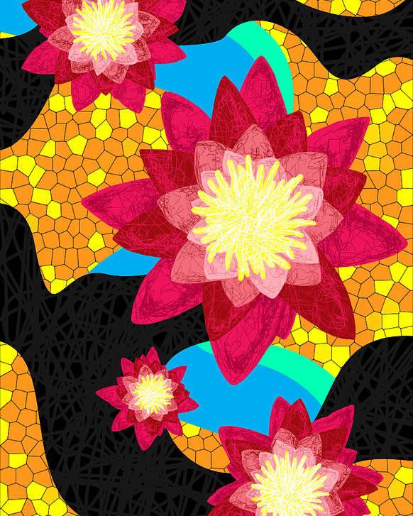 Lotus Flower Bombs Poster featuring the digital art Lotus Flower Bombs In Magenta by Kenal Louis