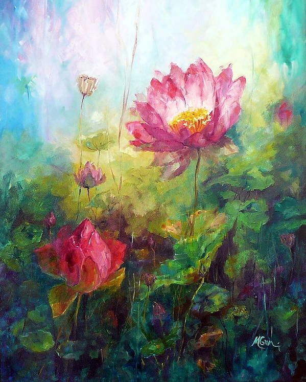 Flowers Poster featuring the painting Lotus Light by Marie Green