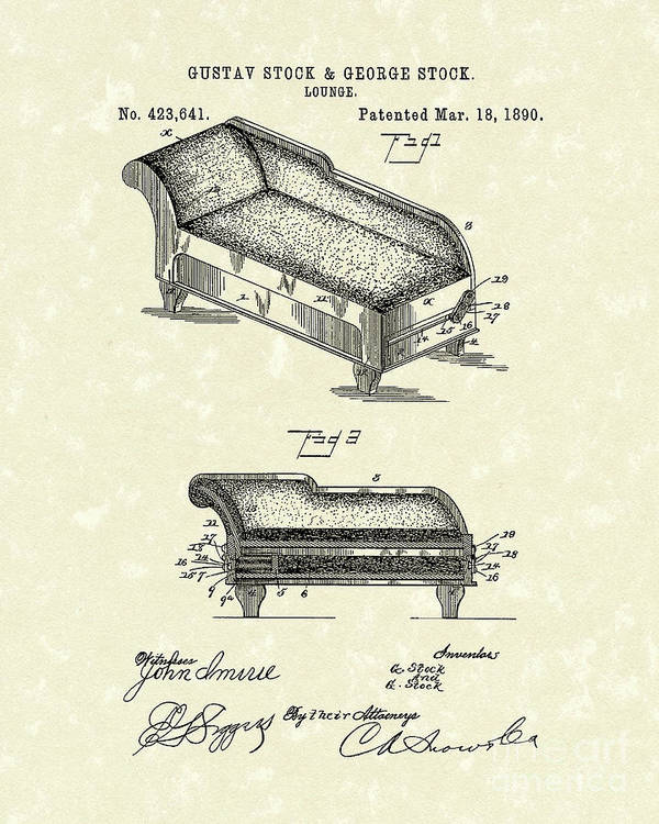 Stock Poster featuring the drawing Lounge 1890 Patent Art by Prior Art Design