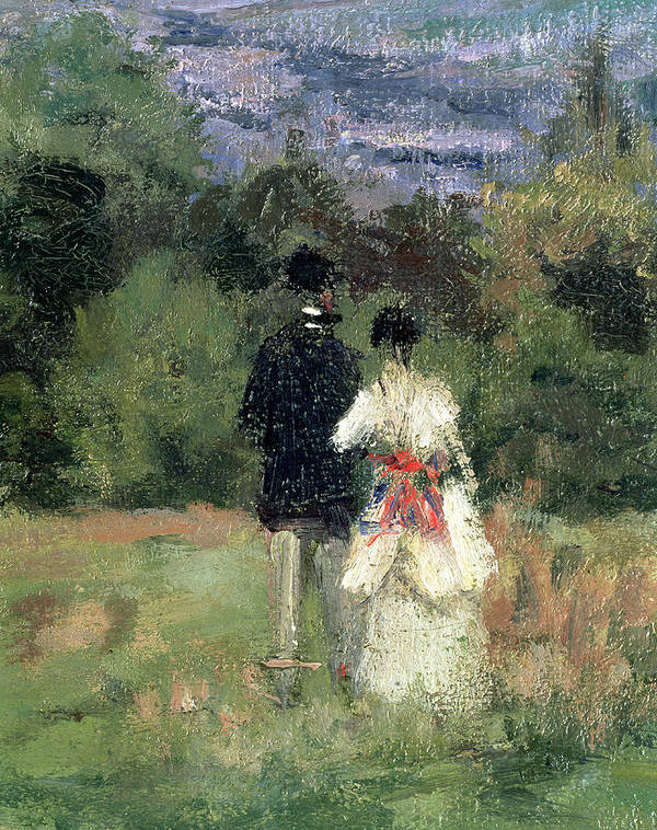 Landscape Poster featuring the painting Louveciennes, Detail Of Lovers by Camille Pissarro