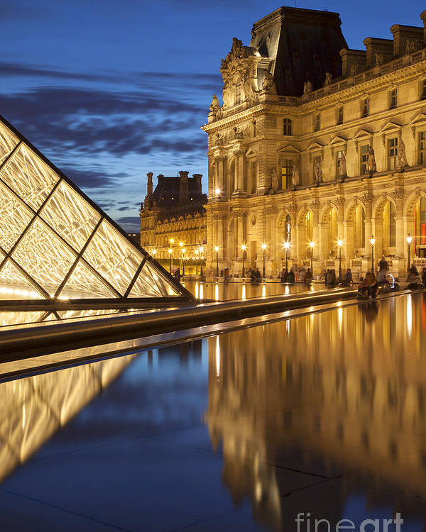 Architectural Poster featuring the photograph Louvre Reflections by Brian Jannsen