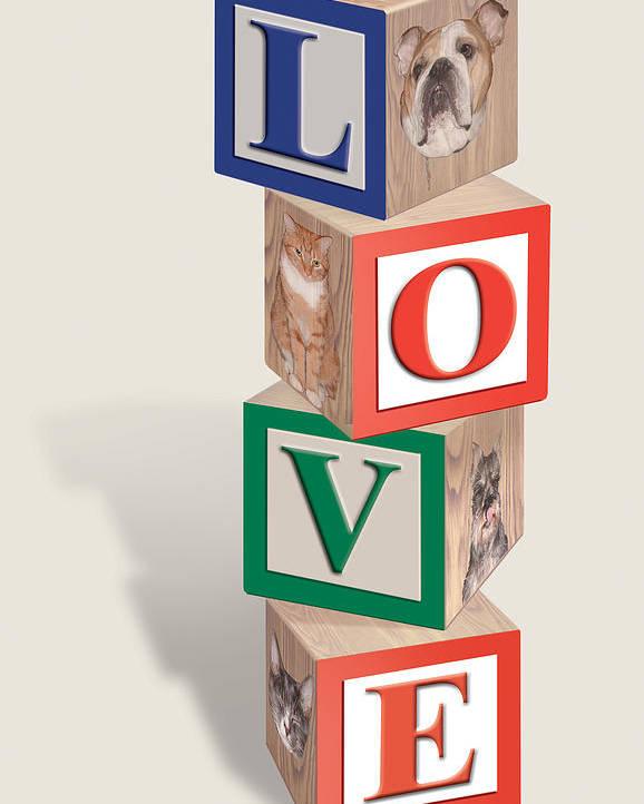 Love Poster featuring the digital art Love Blocks by Harold Shull