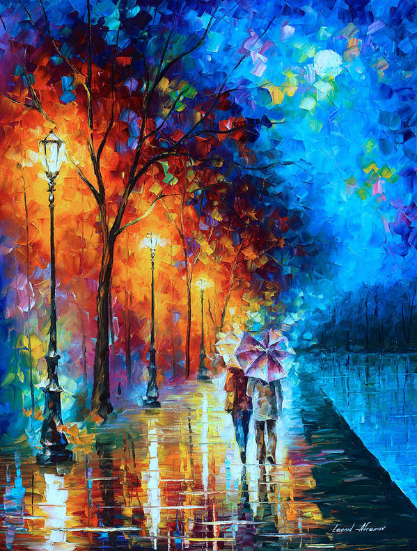 Love Poster featuring the painting Love By The Lake by Leonid Afremov