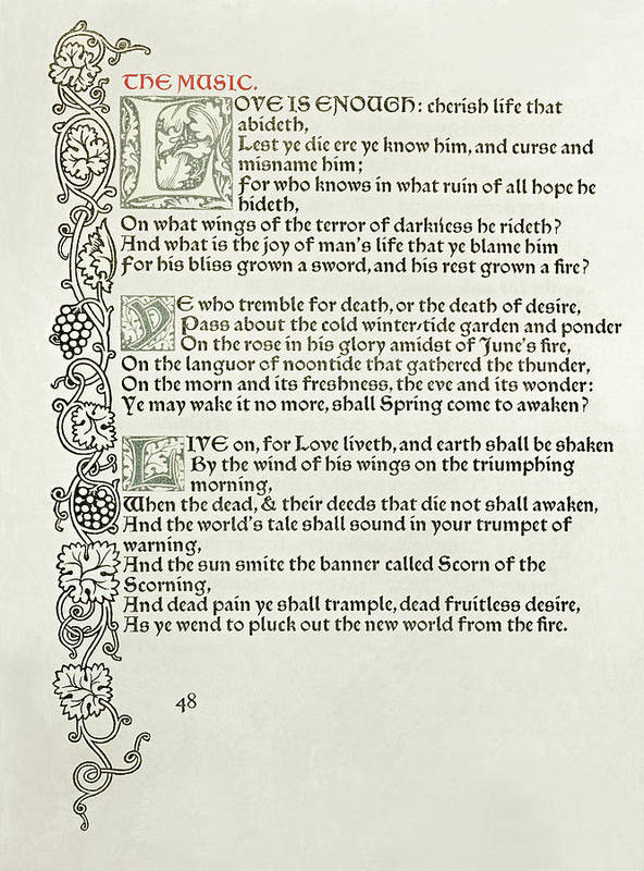Private Presses Poster featuring the drawing Love Is Enough by William Morris