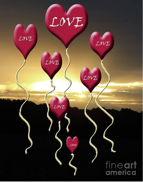 Love Poster featuring the mixed media Love Is In The Air Golden Silhouette by Cathy Beharriell