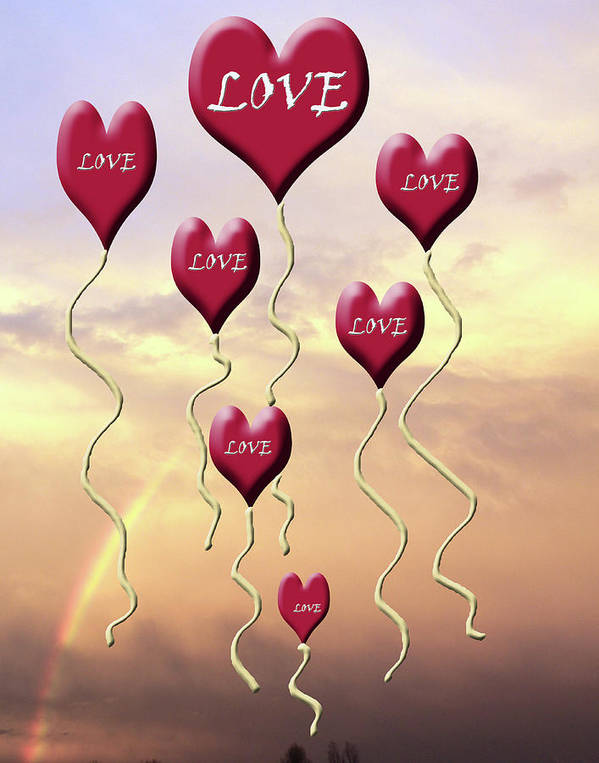 Love Poster featuring the mixed media Love Is In The Air Sunshine Rainbow by Cathy Beharriell