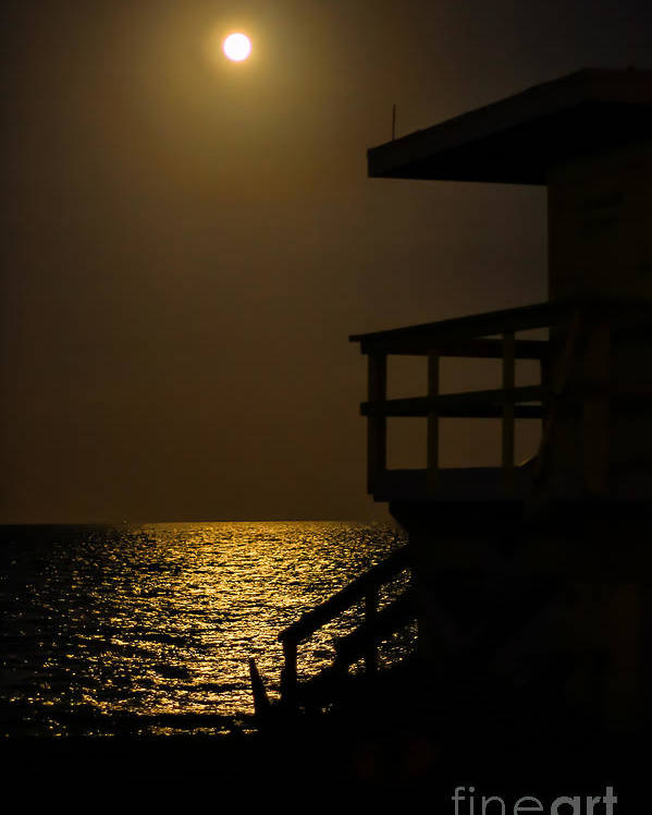 Miami Beach Poster featuring the photograph Lovers Moon by Rene Triay Photography