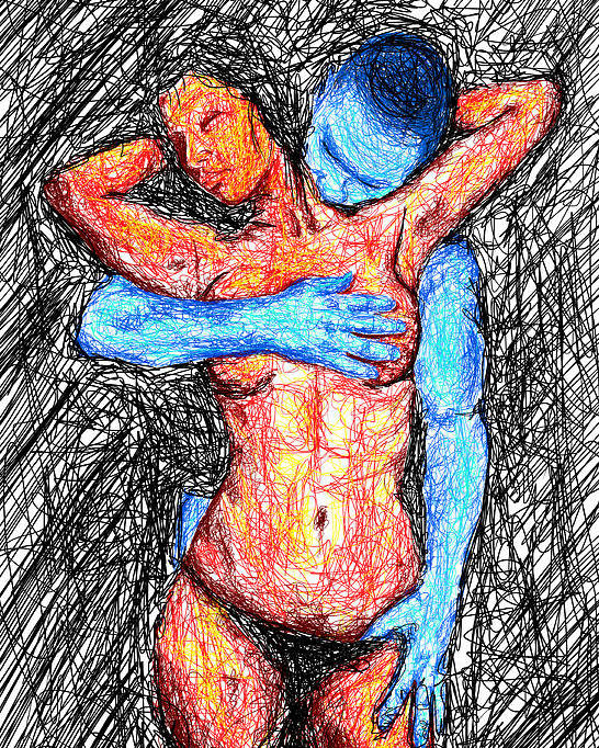 Lovers Wired Together Poster featuring the digital art Lovers Wired Together by Kenal Louis