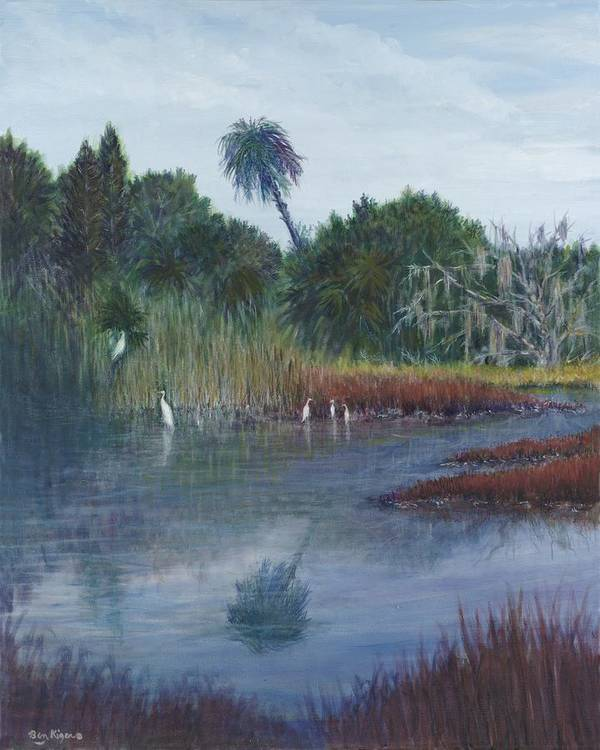 Landscape Poster featuring the painting Low Country Social by Ben Kiger