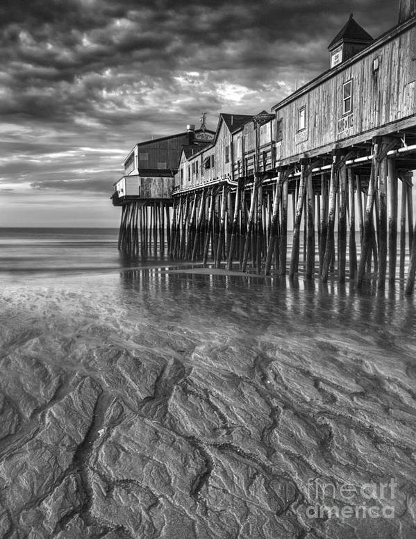 Water Poster featuring the photograph Low Tide At Orchard Beach Black And White by Jerry Fornarotto